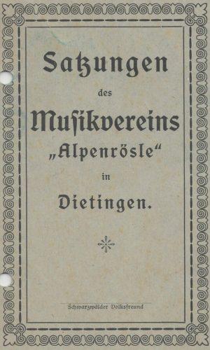 1923 Satzung des MVD Titelseite