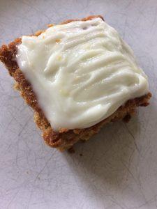 vegan carrot cake with lemon cream cheese icing