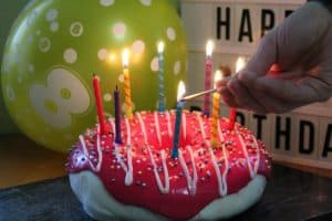 doughnut cake with candles