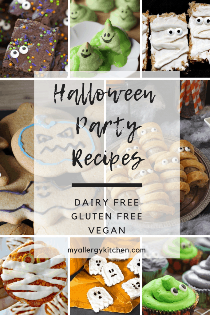 Are you planning a dairy-free Halloween party? If so, I'm here to help, with my favourite dairy-free Halloween recipes from around the web. I have picked recipes that are free from all top 14 allergens, or can be adapted. Most can be made vegan too! These cute dairy free Halloween recipes are so fun and great for a party or just to make together with your children. Updated for 2020 with even more ideas! #dairyfree #glutenfree #vegan #halloween