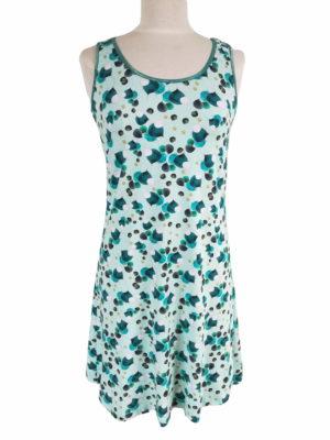 Tanktop kjole i bomuldsjersey, med print i turkis og grønne nuancer, ligner balloner