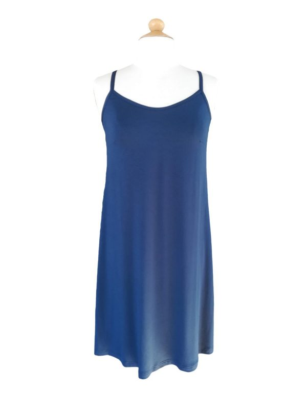 Miss Sunshine stropkjole i marineblå viskosejersey