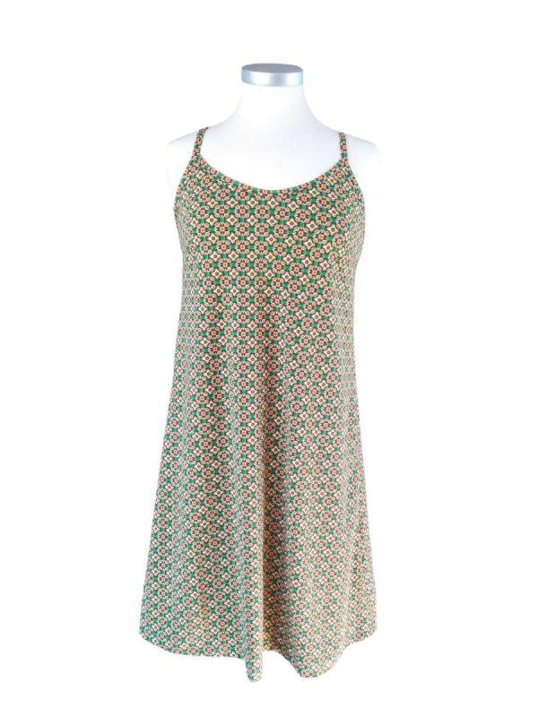 Miss Sunshine stropkjole i bomuldsjersey med lille grøn/brunt print