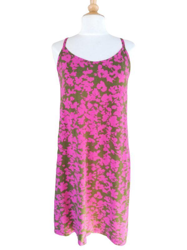 Miss Sunshine stropkjole i viskosejersey med pink og olivengrønt blomsterprint