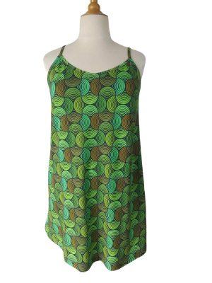 Sommer stropkjole i bomuldsjersey med retroprint i grønne nuancer