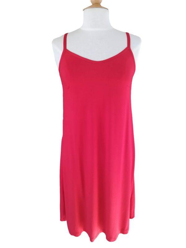 Miss Sunshine stropkjole i rød viskose jersey
