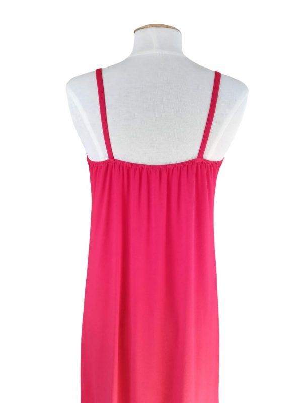 miss sunshine sommer stropkjole med smalle stropper i rød viskose jersey og elastik bagpå