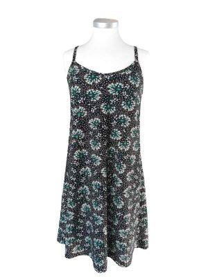 Miss Sunshine stropkjole i bomuldsjersey med grønne/hvide frøstande