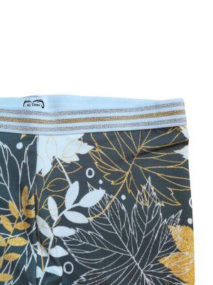 Vibse leggins i bomulds jersey, bladprint i hvid og gul på grå baggrund
