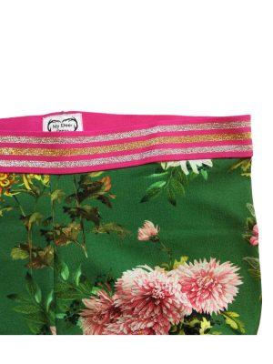 Vibse leggins detalje grønne med store blomster og stribet elastik i taljen