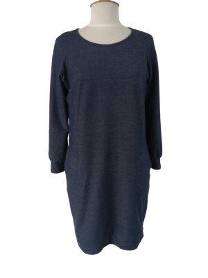 Ida loose kjole i denim jersey, med lommer, ærmemanchet og raglanærmer