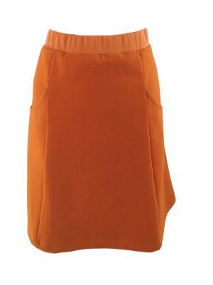 Anna nederdel i brændt orange og med lommer i sidepanelerne