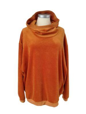 Sonja hættetrøje uden snøre i hætten, i brændt orange velour