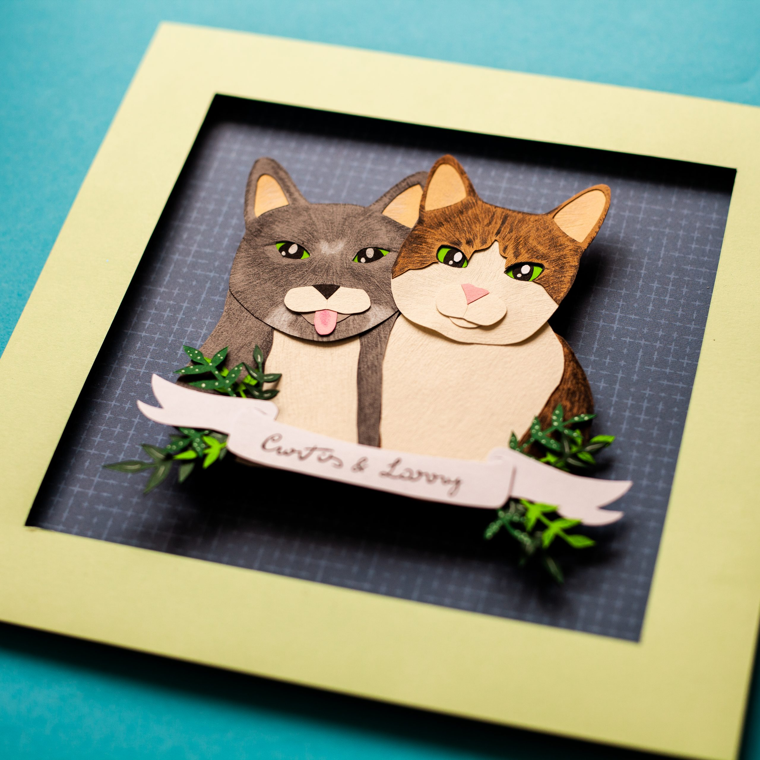pet portrait in papercut