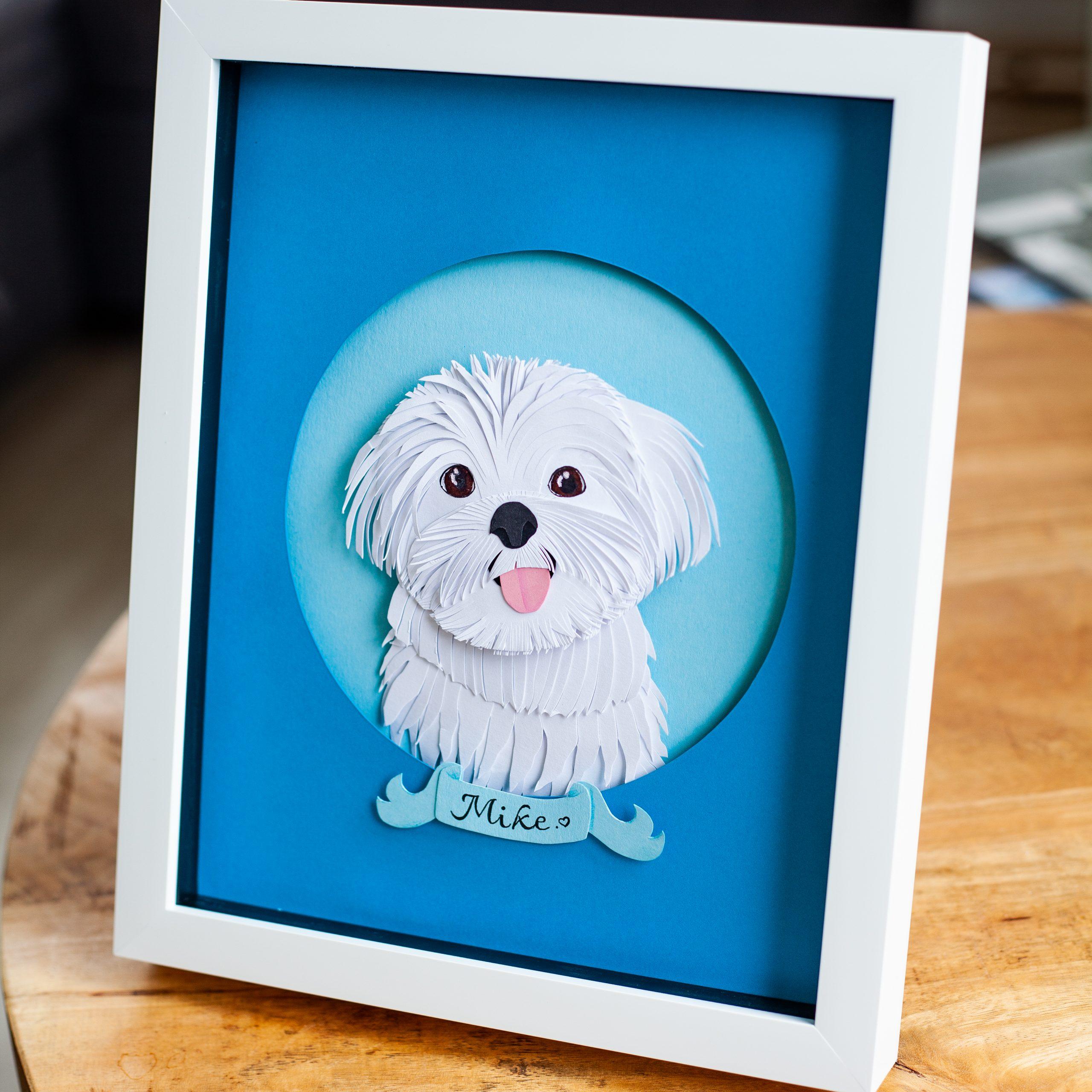 pet portrait papercut art