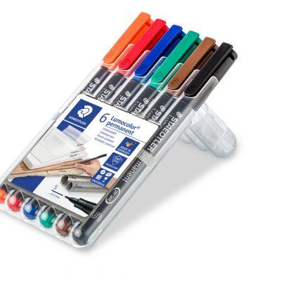 STAEDTLER Permanent markersæt 0,4 mm. Stregbredde S.  Etui med 6 farver.