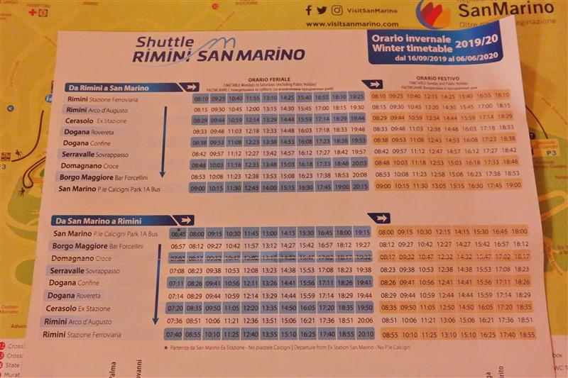 Rimini to San MArino bus schedule