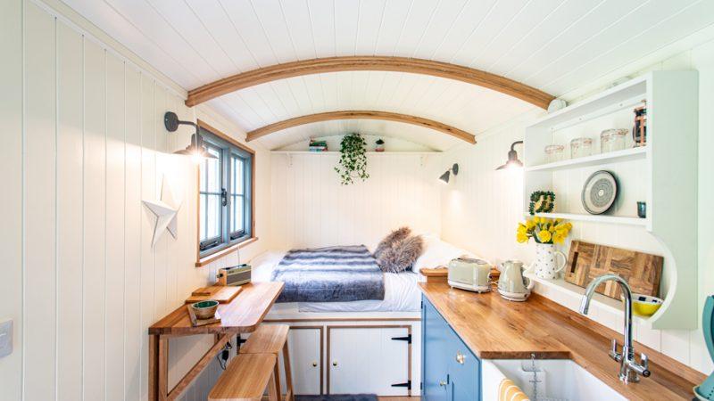 Inside Shepherds Hut Nanpusker Glamping Holidays