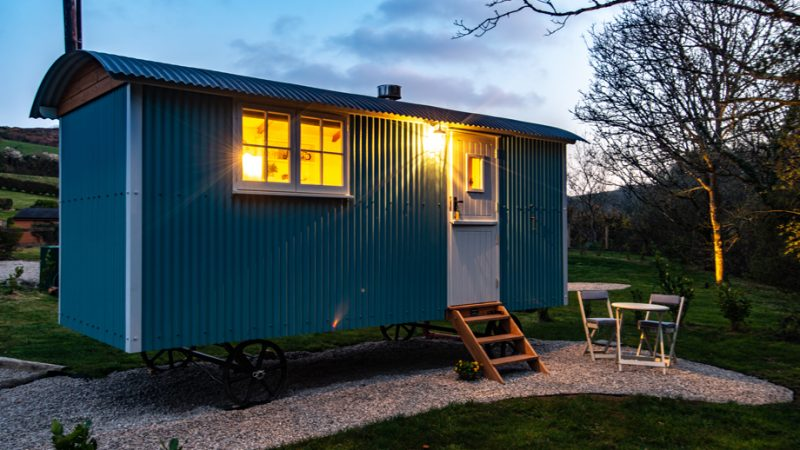 Gwithian Shepherds Hut in the evening