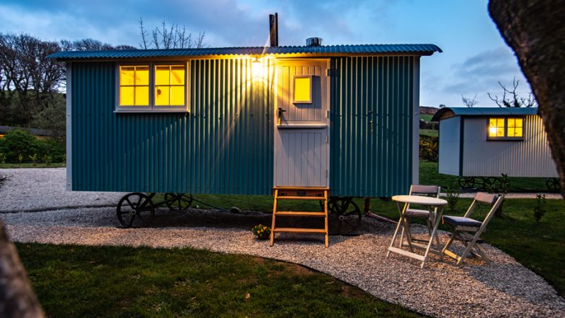 Nanpusker Glamping Holidays Cornwall night time