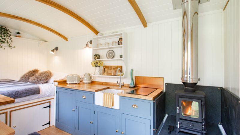 Nanpusker Glamping Holidays Cornwall inside Shepherds Hut