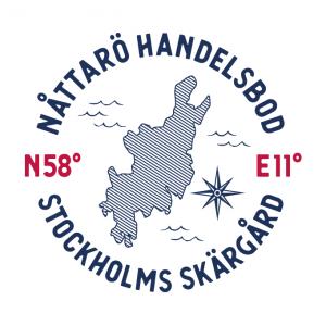 Nåttarö Handelsbod logga, med koordinater och avbild av kartan