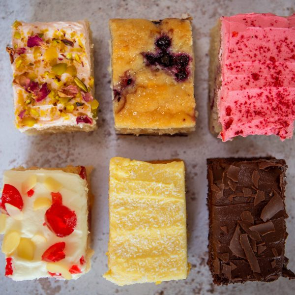 Mixed selection box of cake slices