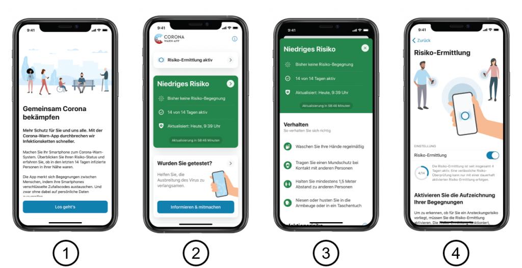 Screenshots der Corona App