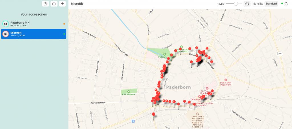 Karte mit OpenHaystack Daten gesammelt durch einen BBC micro:bit