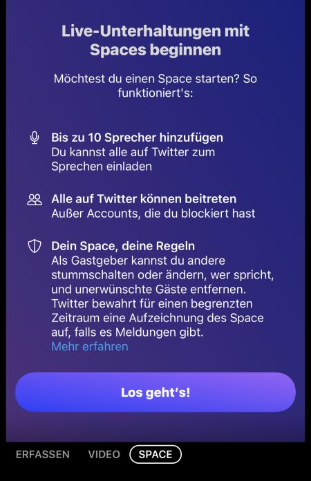 Twitter Spaces Startscreen