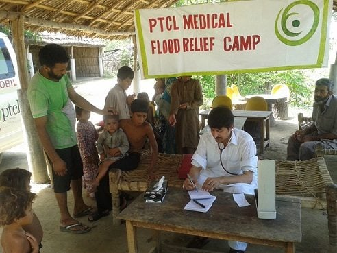 PTCL reaches out to flood affectees by setting-up medical camps