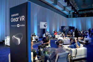 HOLLYWOOD, CA - SEPTEMBER 24: Attendees test out the first consumer version of the Samsung Gear VR at Oculus Connect 2 Developers Conference 2015 at Loews Hollywood Hotel on September 24, 2015 in Hollywood, California. (Photo by Charley Gallay/Getty Images for Samsung)