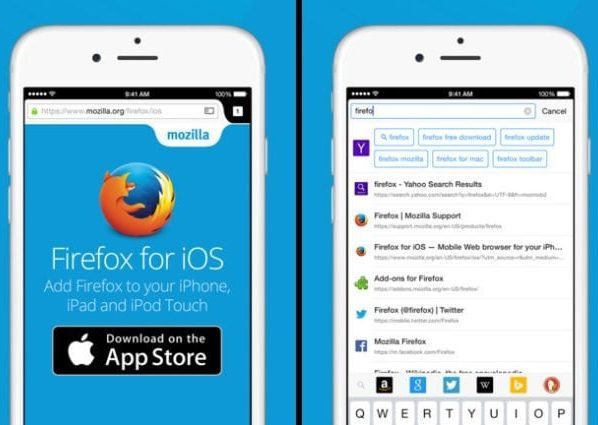 Firefox for iOS now available in a unique search