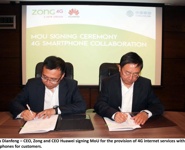 Mr Liu Dianfeng – CEO, Zong and CEO Huawei signing MoU for the provision of 4G internet services with 4G handsets for customers