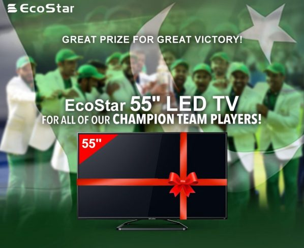 """n order to celebrate Pakistan's glorious victory in the Champion's Trophy, EcoStar has announced to gift 55"""" LED TV set to all players of our National Cric"""
