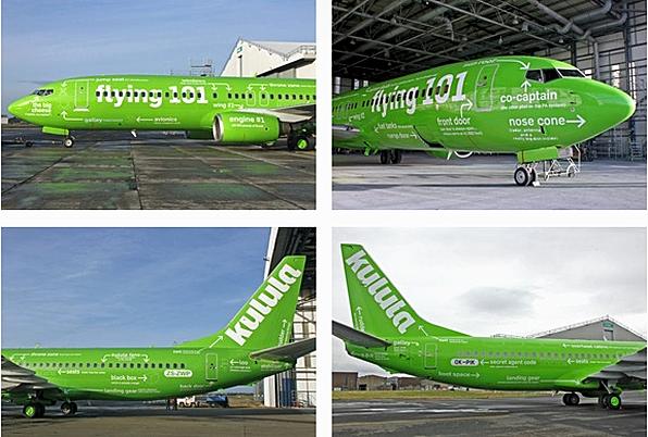 Design der Südafrikanischen Kulula Air