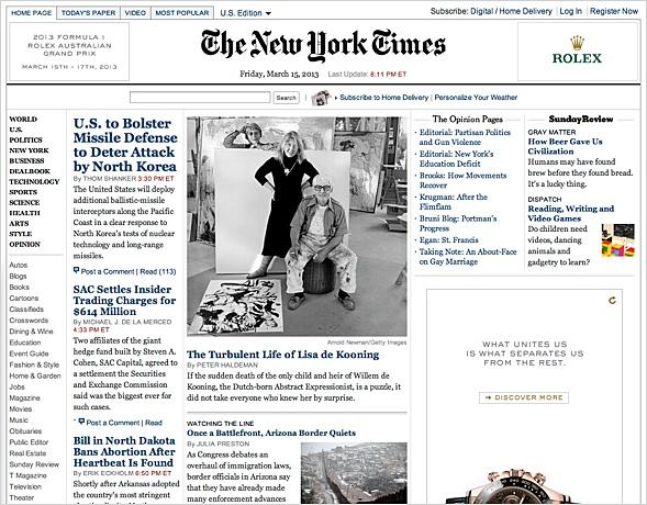 NYTimes mit seit 2006 unveränderter editorialer Gestaltung.