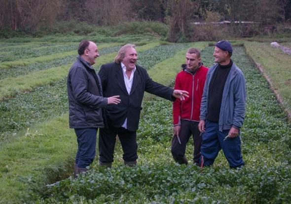 Laurent Audiot and Gérard Depardieu at a watercress farm in Méréville, France Alastair Miller