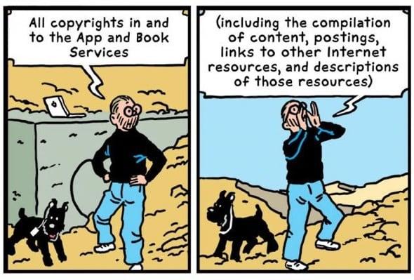R Sikoryak macht aus Apple's Geschäftsbedingungen eine Parodie auf Hergé's Tim und Strippie Abenteuer.