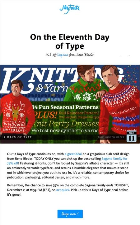 MyFonts newsletter