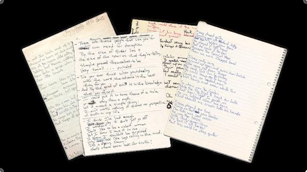 David Bowie Handschrift angesammelt von Nicolas Damiens u. Julien Sens.