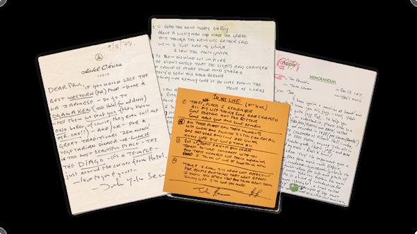 John Lennon Handschrift angesammelt von Nicolas Damiens u. Julien Sens.