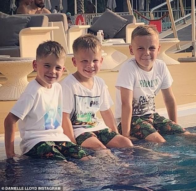 Family:The couple were without the boys (Archie, eight, Harry, seven, and George, five) Danielle shares with her ex-husband Jamie O'Hara