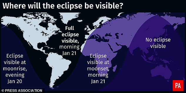 The rest of Europe, as well as Africa, will be able to see a partial view of the eclipse, while Asia, Australia and New Zealand will miss the spectacle. This will be the last time that sky watchers in the UK will be able to experience a total lunar eclipse until 2029