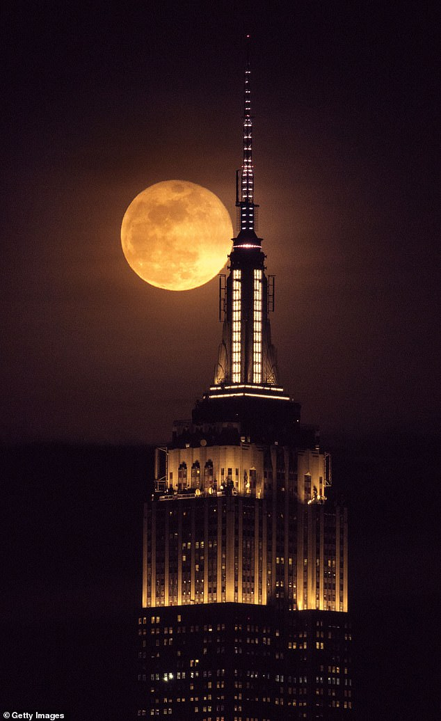 During totality, the moon will look blood red because of sunlight scattering off Earth's atmosphere. Pictured: The Empire State building is seen as a full moon rises behind the building in New York (file photo)