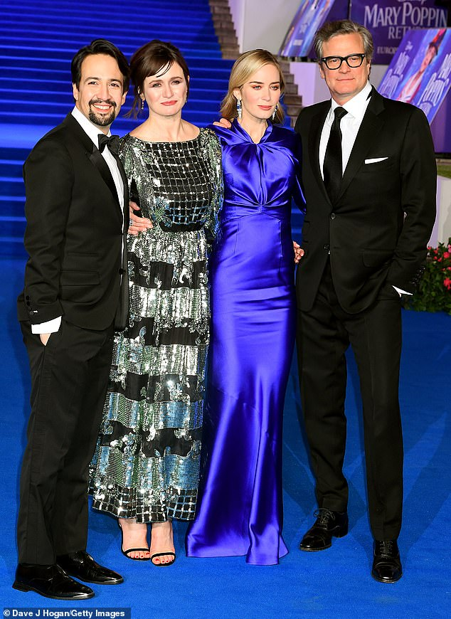 Leading lights: Emily joined co-stars Emily Blunt, Colin Firth and Lin-Manuel Miranda at the premiere at the Royal Albert Hall