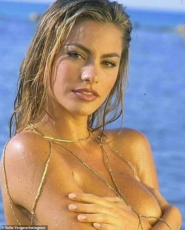 A golden oldie shot: Sofia Vergara shared this sizzling hot topless image to Instagram on Friday. It was taken in the 1990s in Miami
