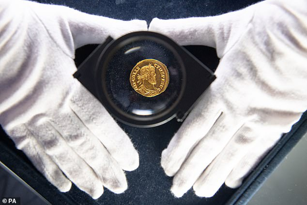 The 24 carat gold coin, known as an Aureus, has just one matching example in in the world which is in the British Museum and originally would have been worth 25 pure silver dinarii