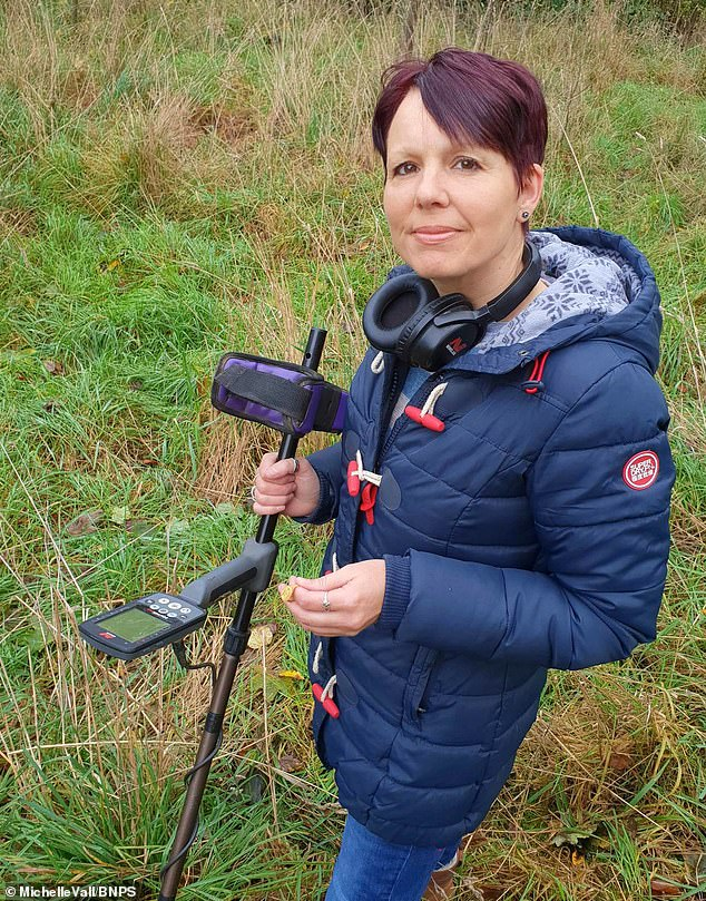 Rare: 'To find gold is rare for us detectorists and I even did a little dance to celebrate. It was a very exciting moment and you just don't expect to find something so special,' said Mrs Vall