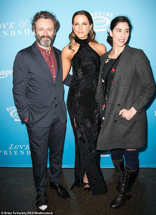 Former flames:The Chiswick-born bombshell shares a 20-year-old daughter called Lily with her ex Michael Sheen, who just became a father again at 50 (above with his ex Sarah Silverman in 2016)